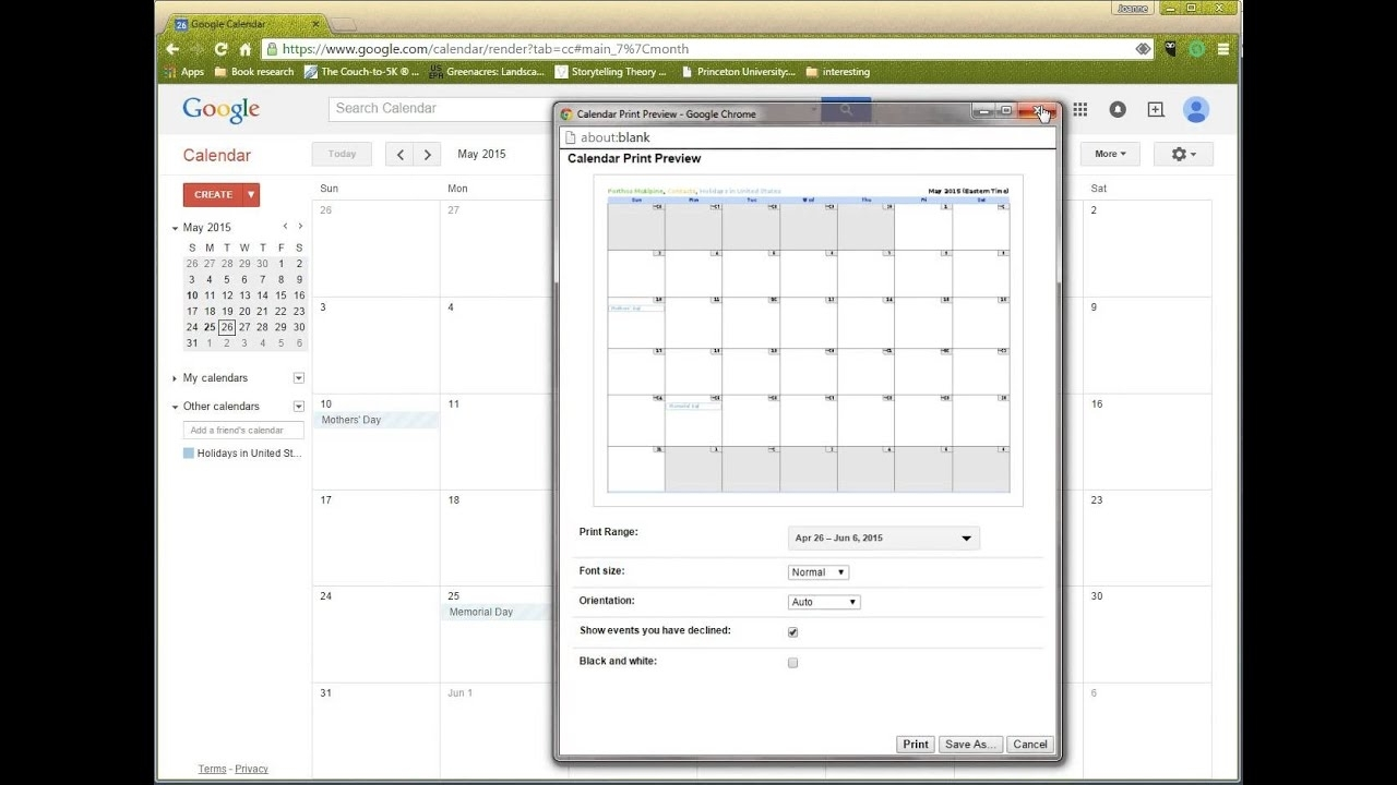 Printing From Google Online Calendar