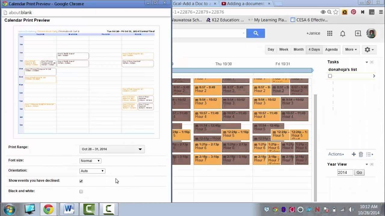 Printing Google Calendar