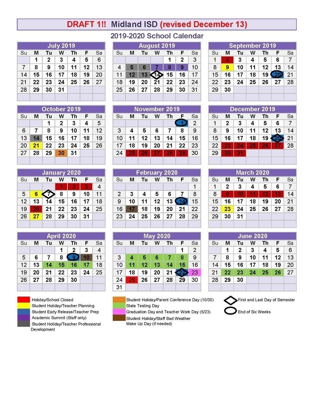 Proposed 2019-2020 School Calendar Drafts 2020 Calendar