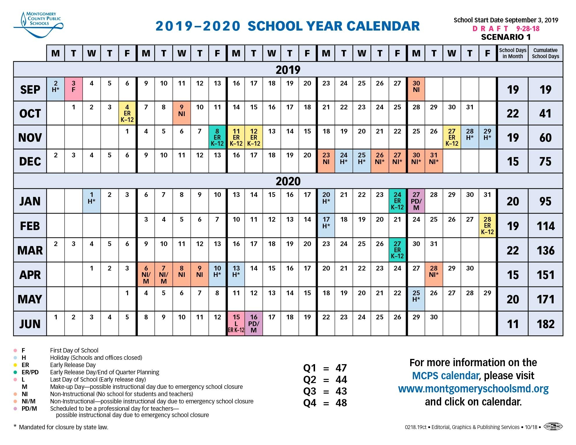 Proposed Calendar 2019-2020 - Montgomery County Public