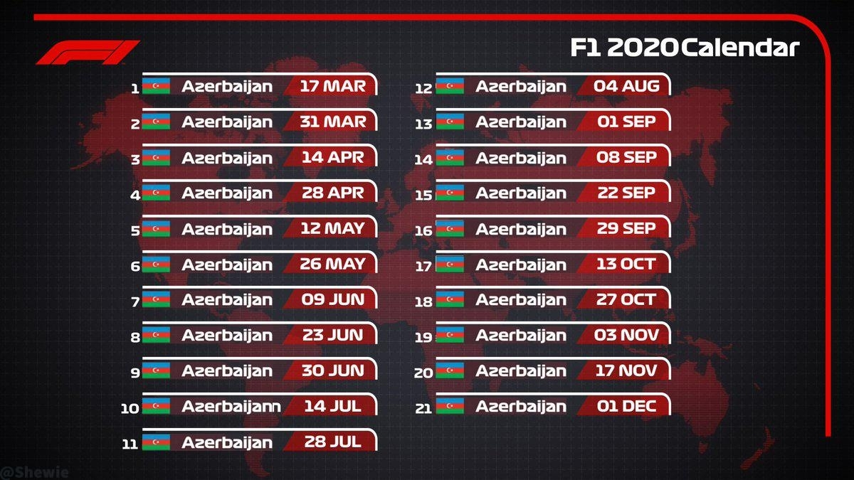 Proposed Racing Calendar For 2020. : Formuladank