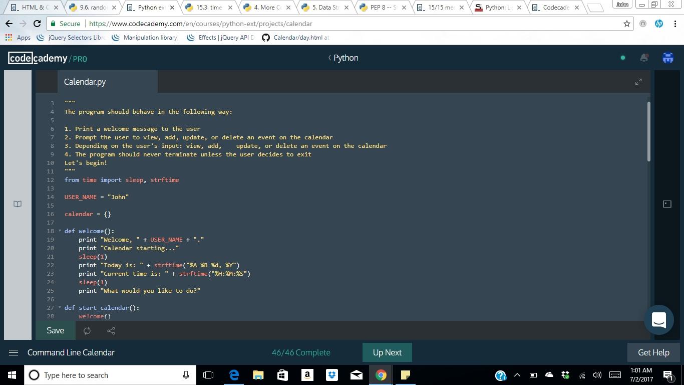 Python | Command Line Calendar. Indentation Error - General