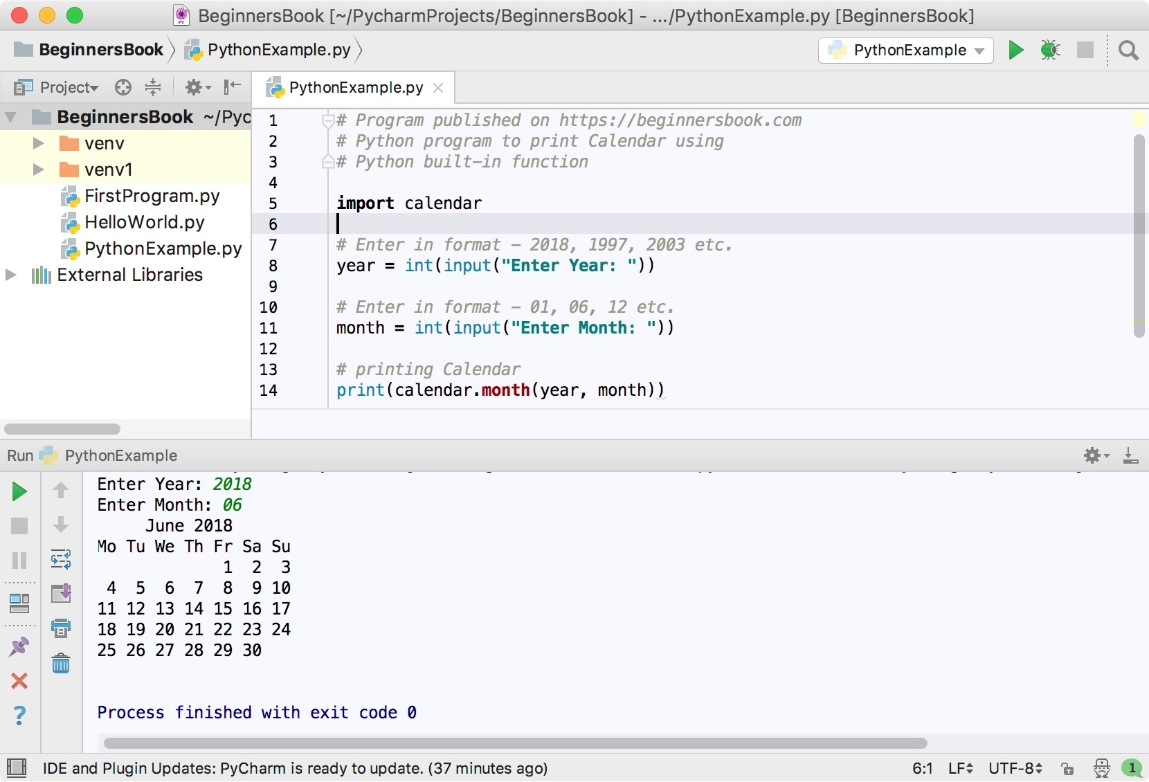 Python Program To Print Calendar