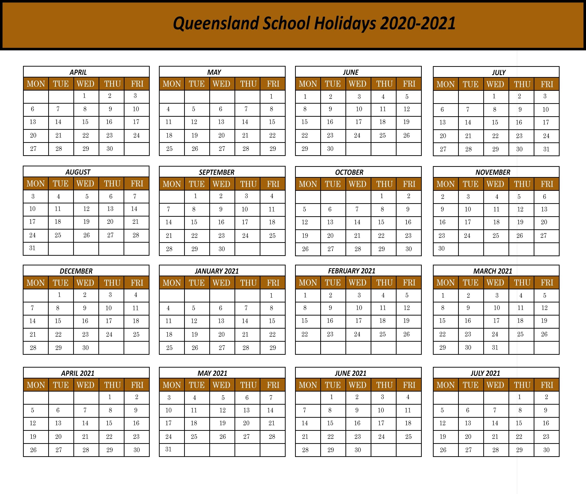 Qld School Holidays 2020 Calendar Template   Printable
