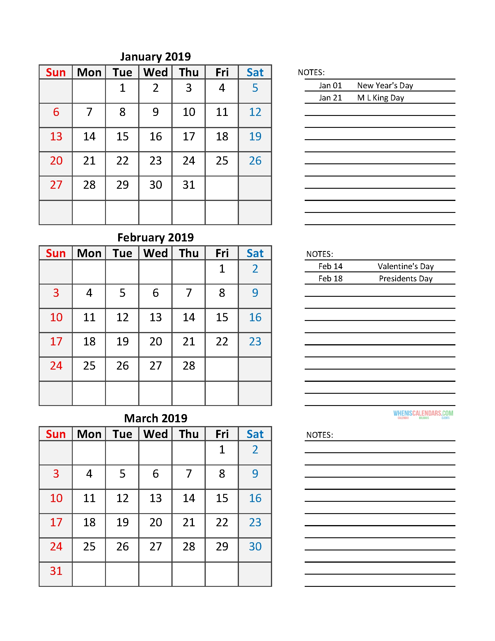 Quarterly Calendar 2019 Printable Calendar Template | Free
