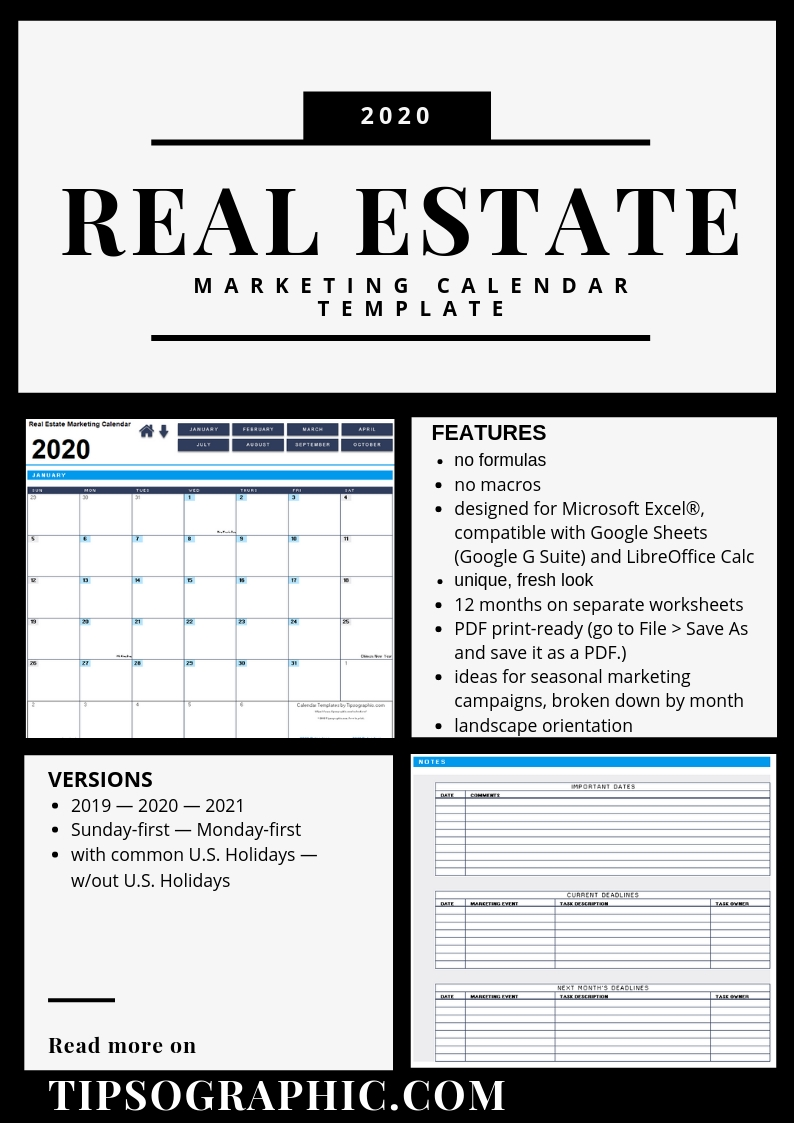 Real Estate Marketing Calendar Template For Excel (2019-2020