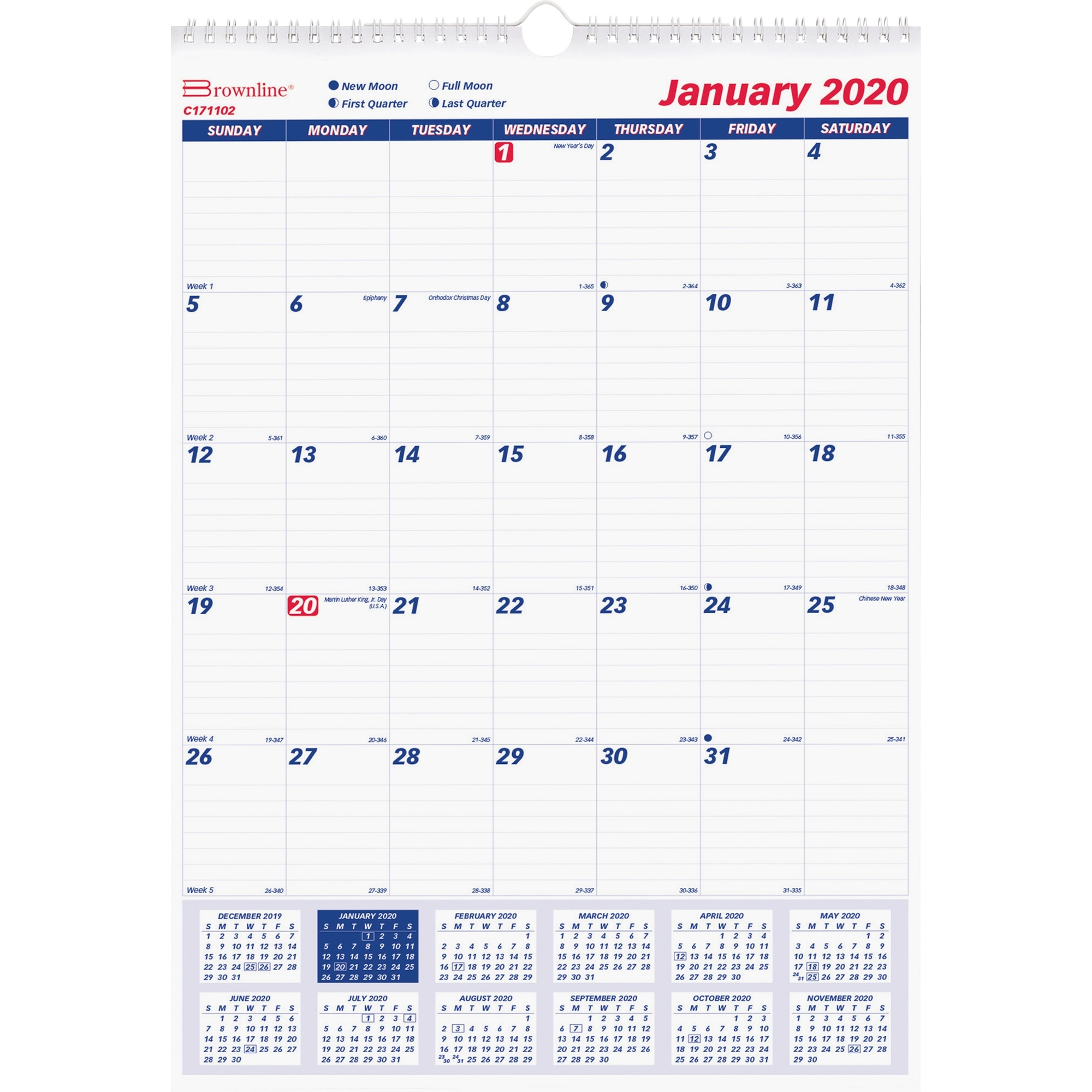 "Rediform Ruled Block Monthly Wall Calendar - Yes - Monthly - 1 Year -  January 2020 Till December 2020 - 1 Month Single Page Layout - 8"" X 11"" -  Twin"