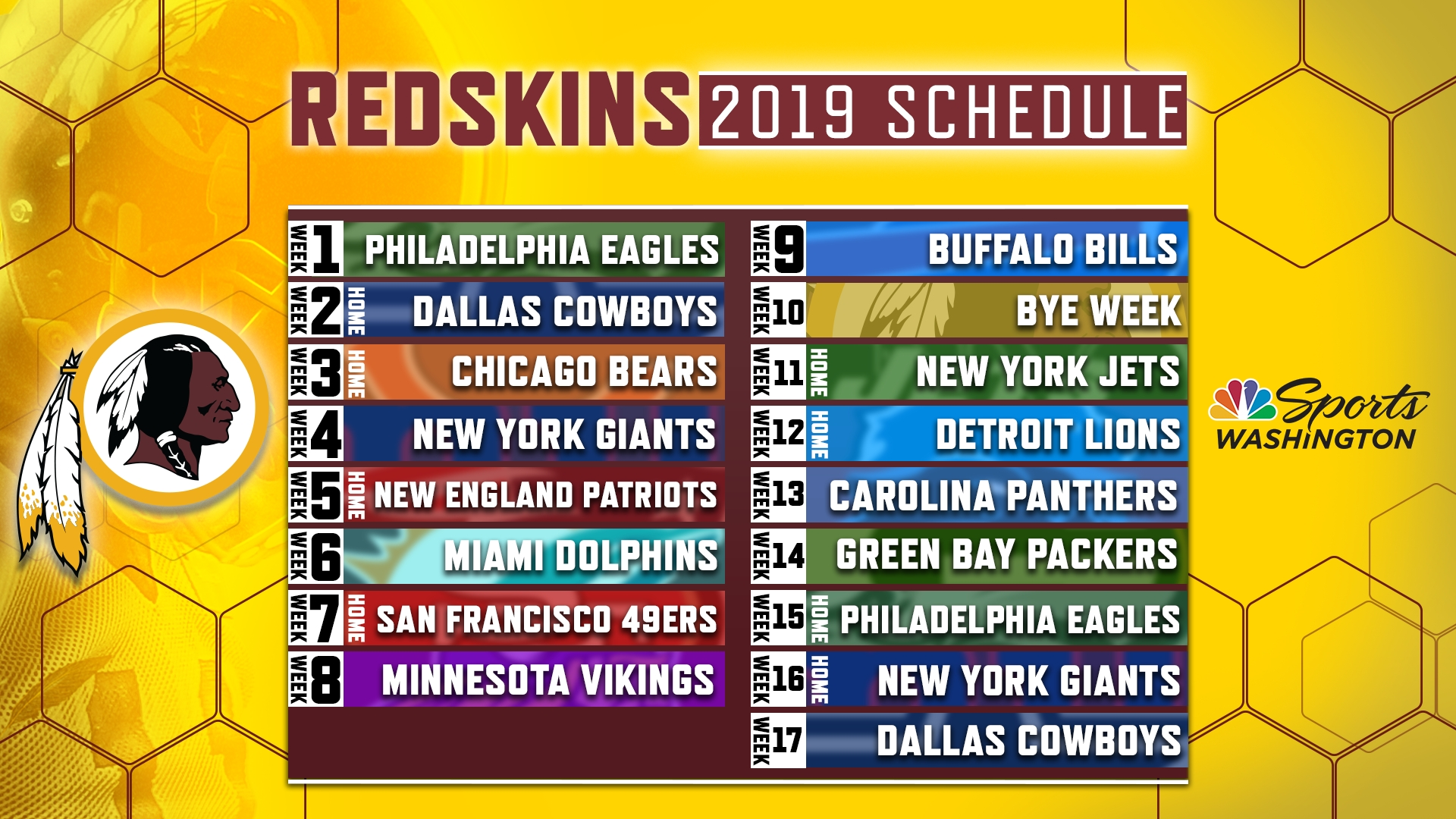 Redskins Release Official 2019 Regular-Season Schedule | Nbc