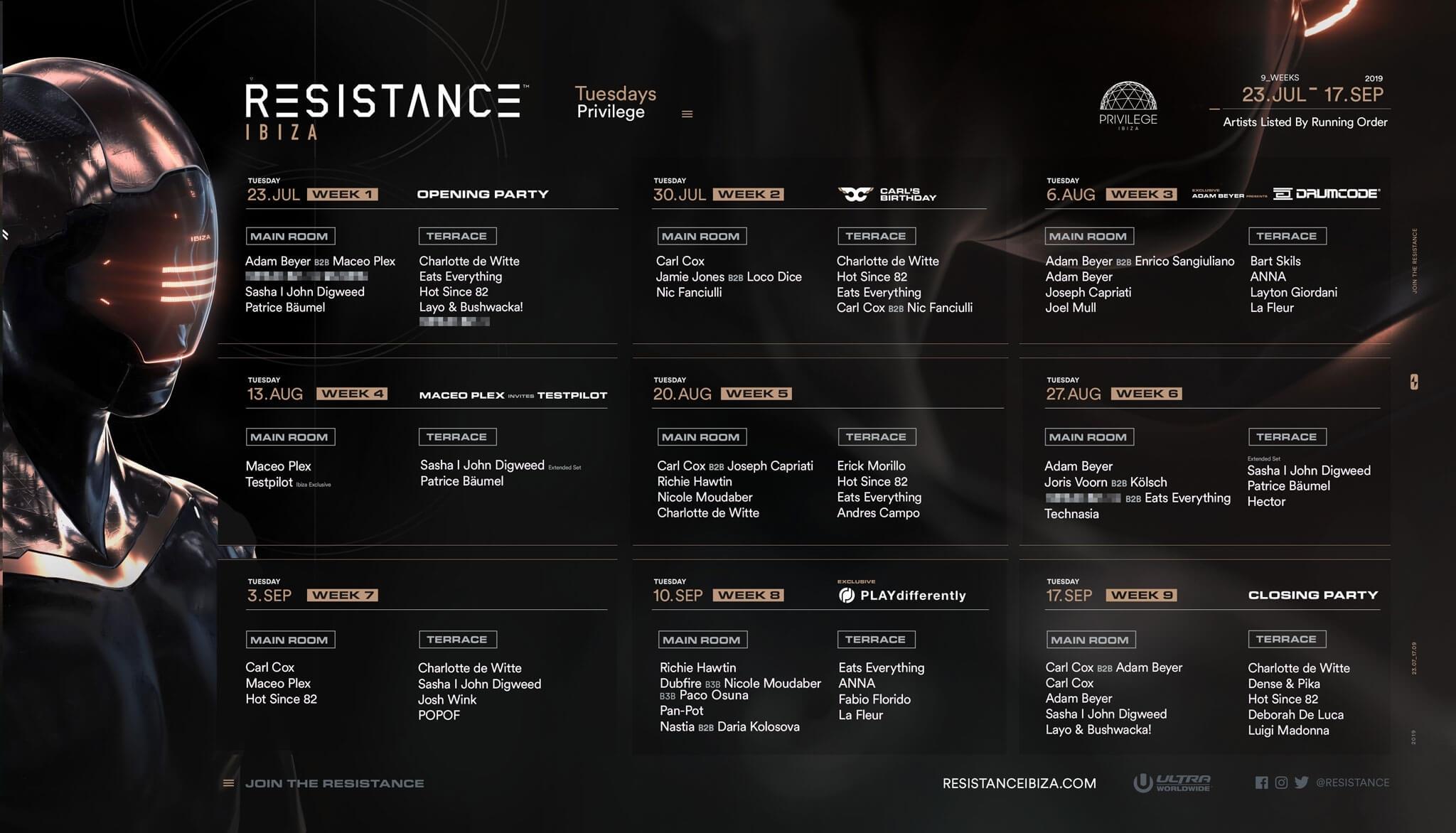 Resistance Ibiza Drops 2019 Season Calendar - Ultra Music