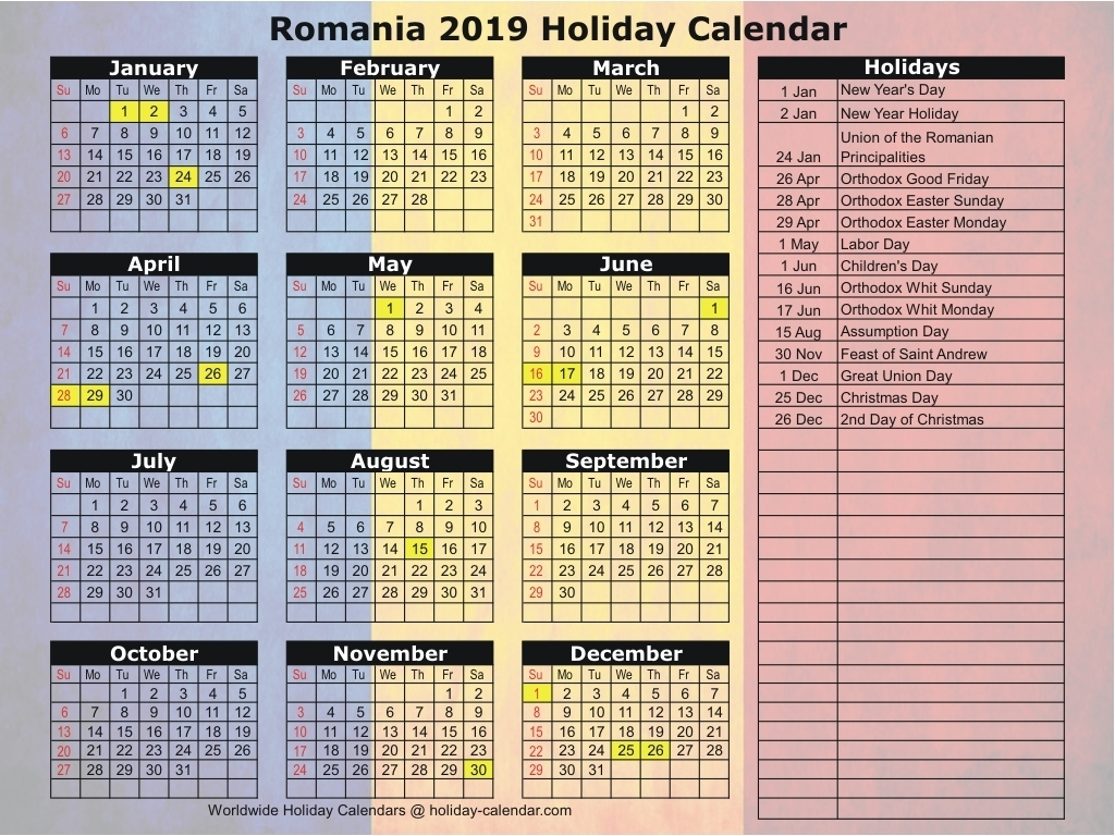 Romania 2019 / 2020 Holiday Calendar
