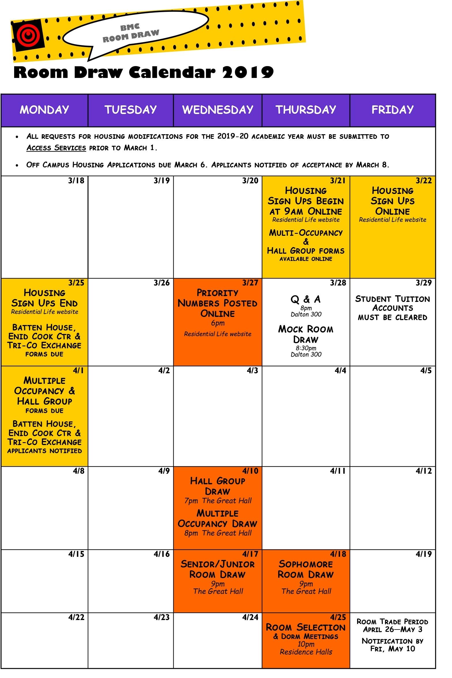 Room Draw Calendar | Bryn Mawr College