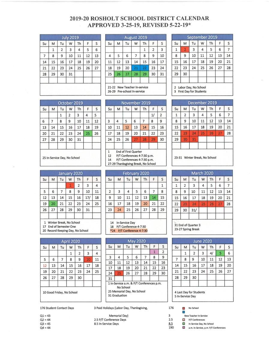 Rosholt School District - District Calendar