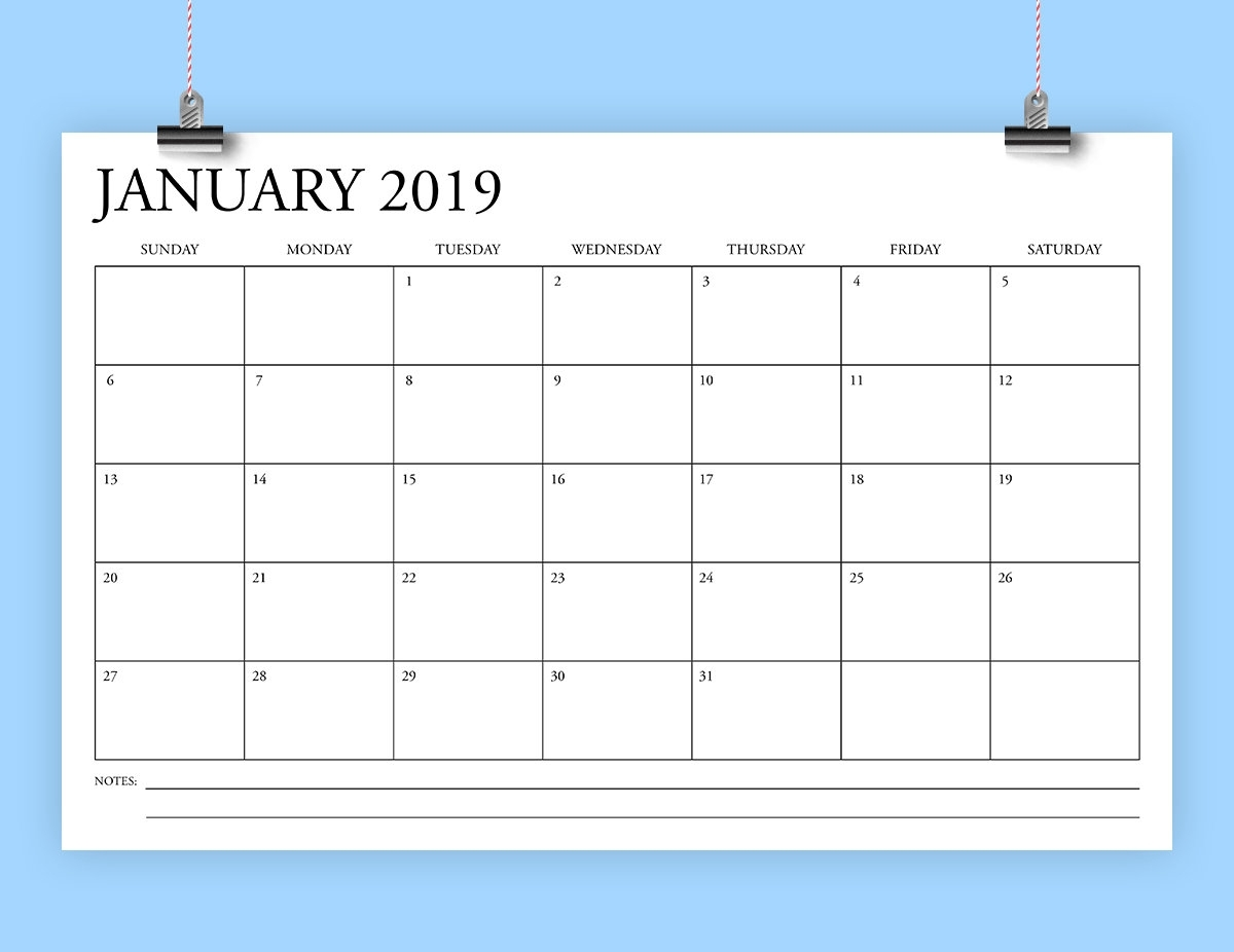 Sale 11 X 17 Inch 2019 Calendar Template | Instant Download | Classic Serif  Type Monthly Printable Desk Or Wall Calender | Print Ready