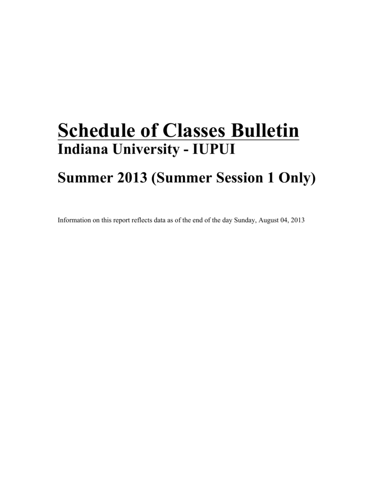 Schedule Of Classes Bulletin