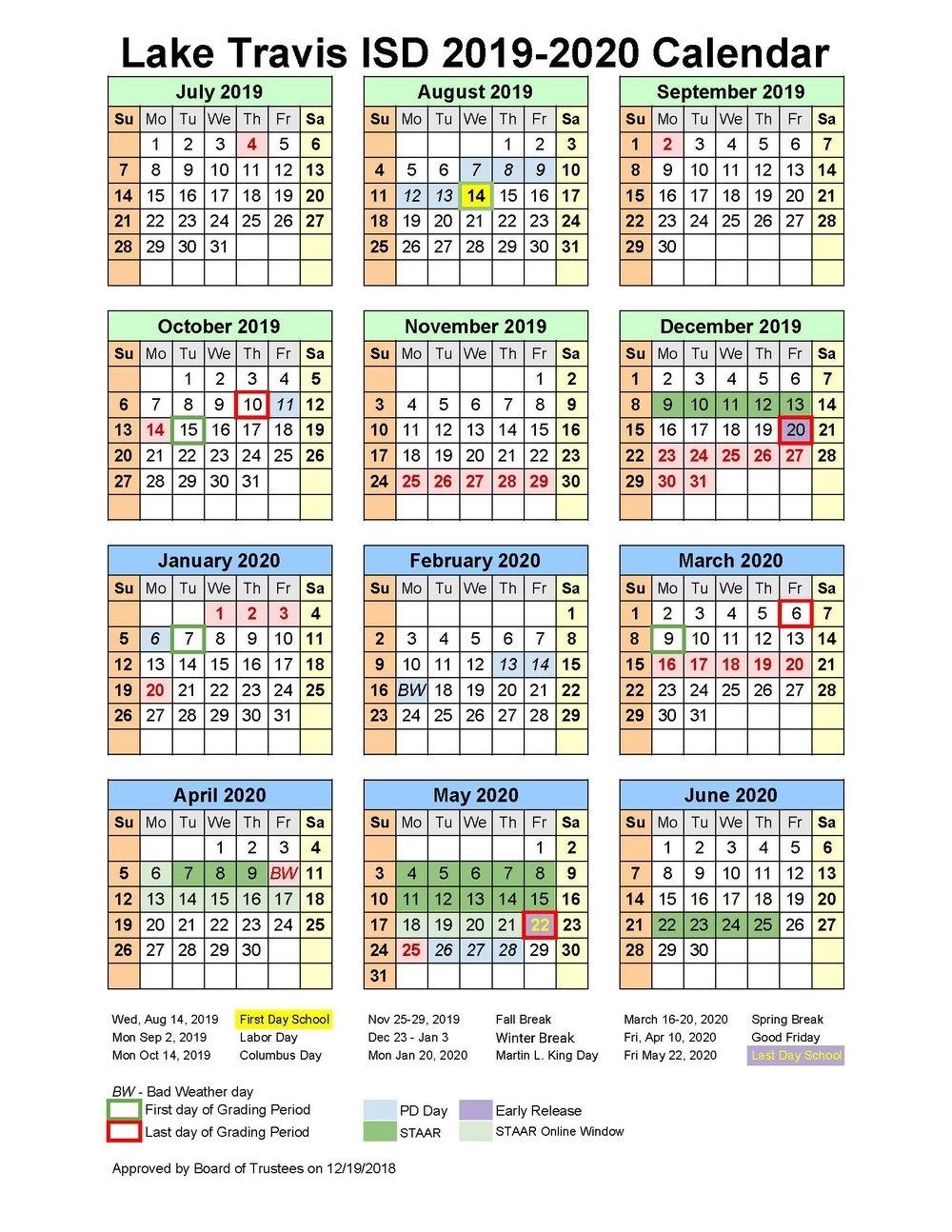 School Board Approves 2019-2020 Instructional Calendar
