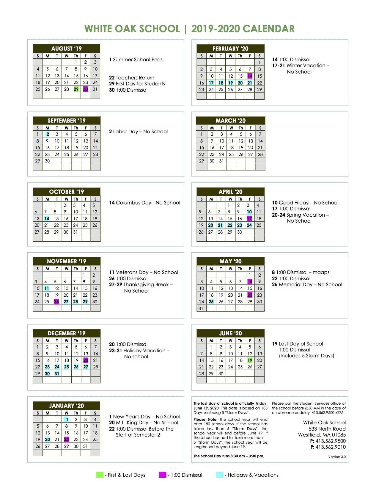 School Calendar 2019 – 2020 – White Oak School