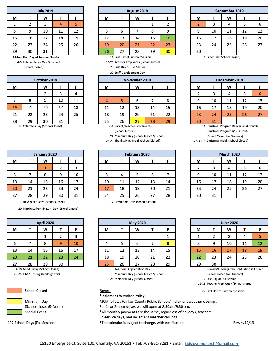 School Calendar | Monarch Christian Montessori