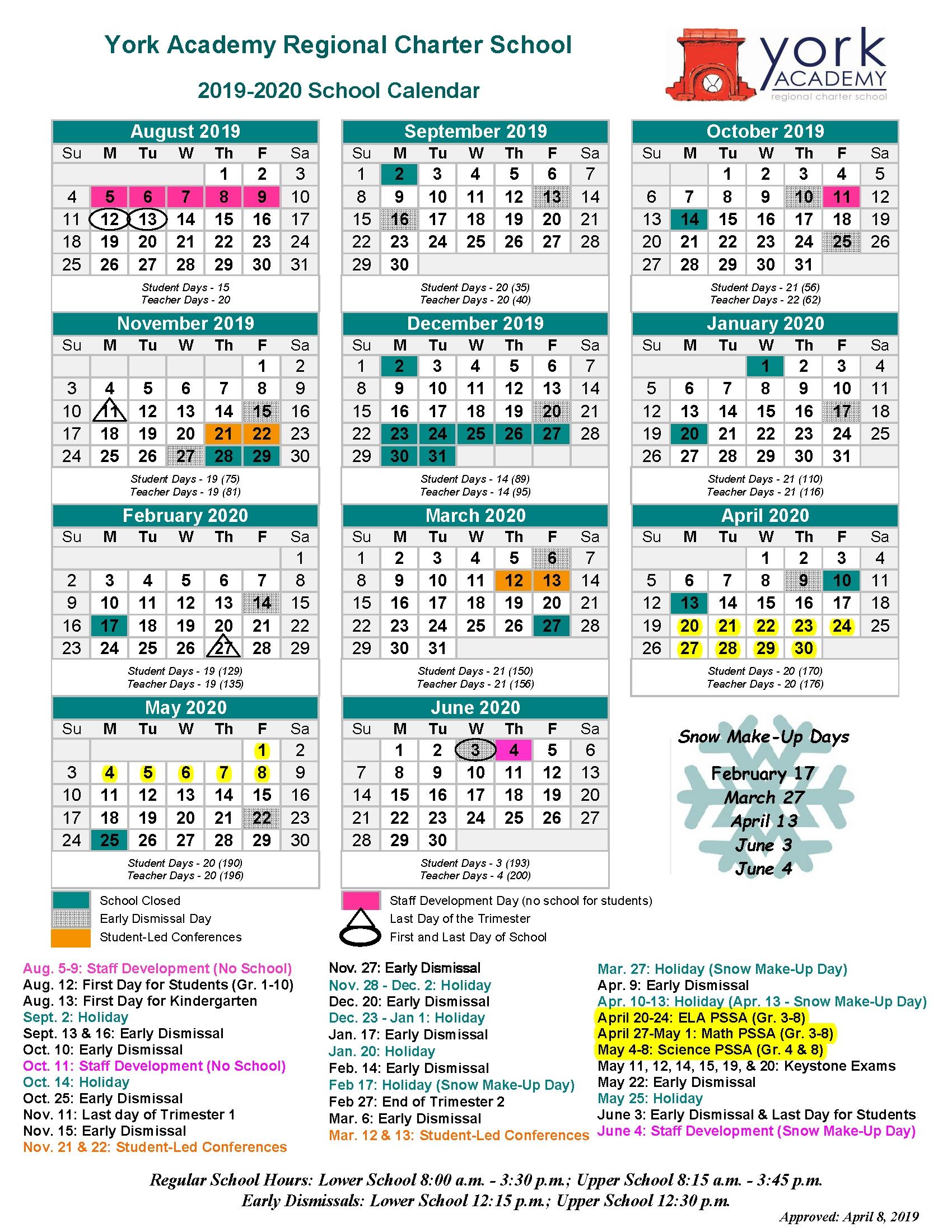 School Calendar (Pdf) - York Academy Regional Charter School