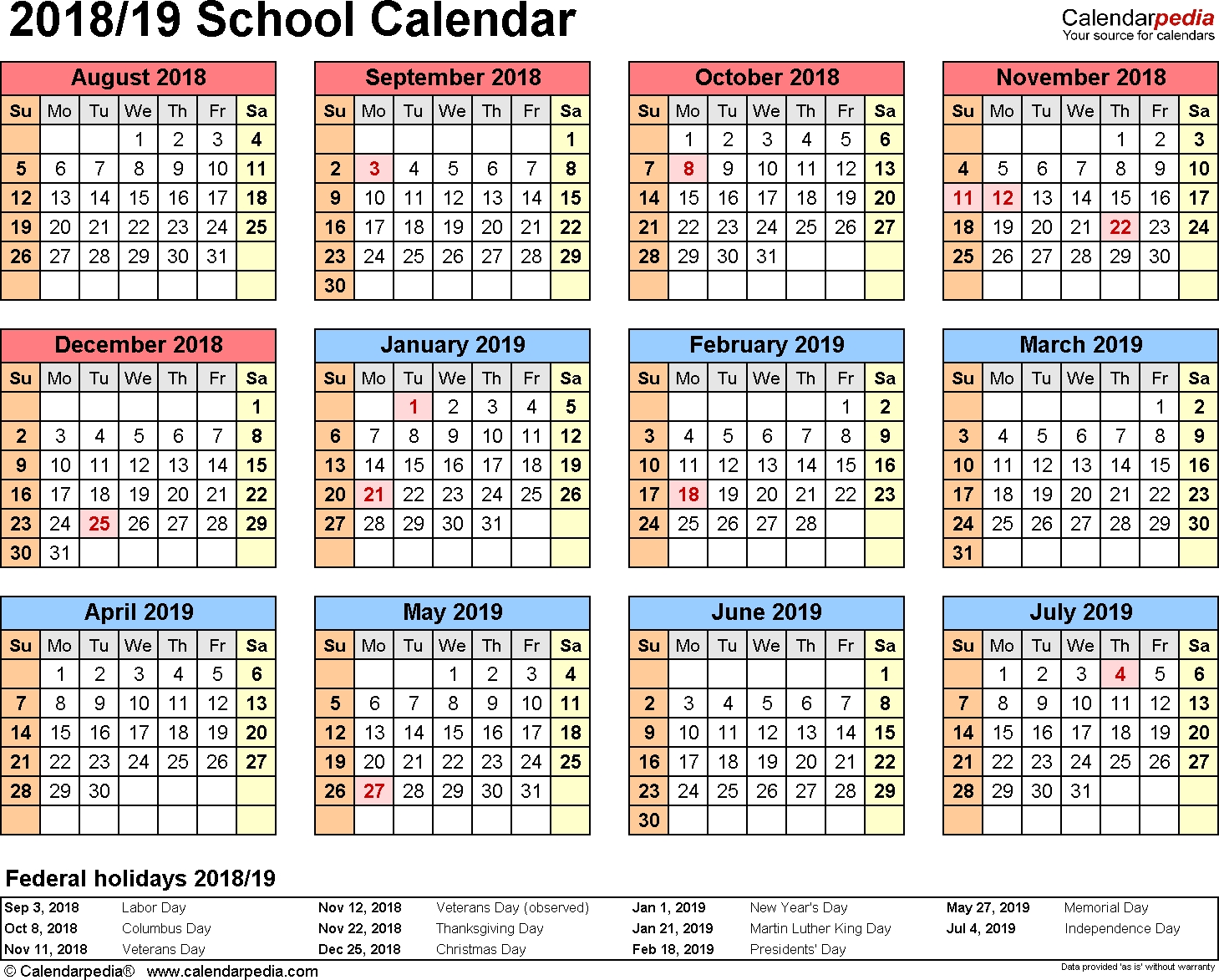School Calendars 2018/2019 - Free Printable Word Templates