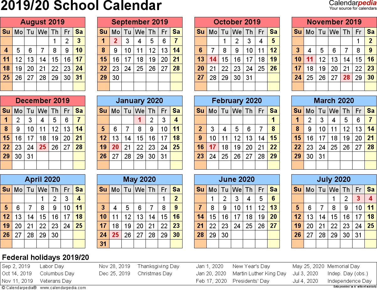 School Calendars 2019/2020 - Free Printable Excel Templates