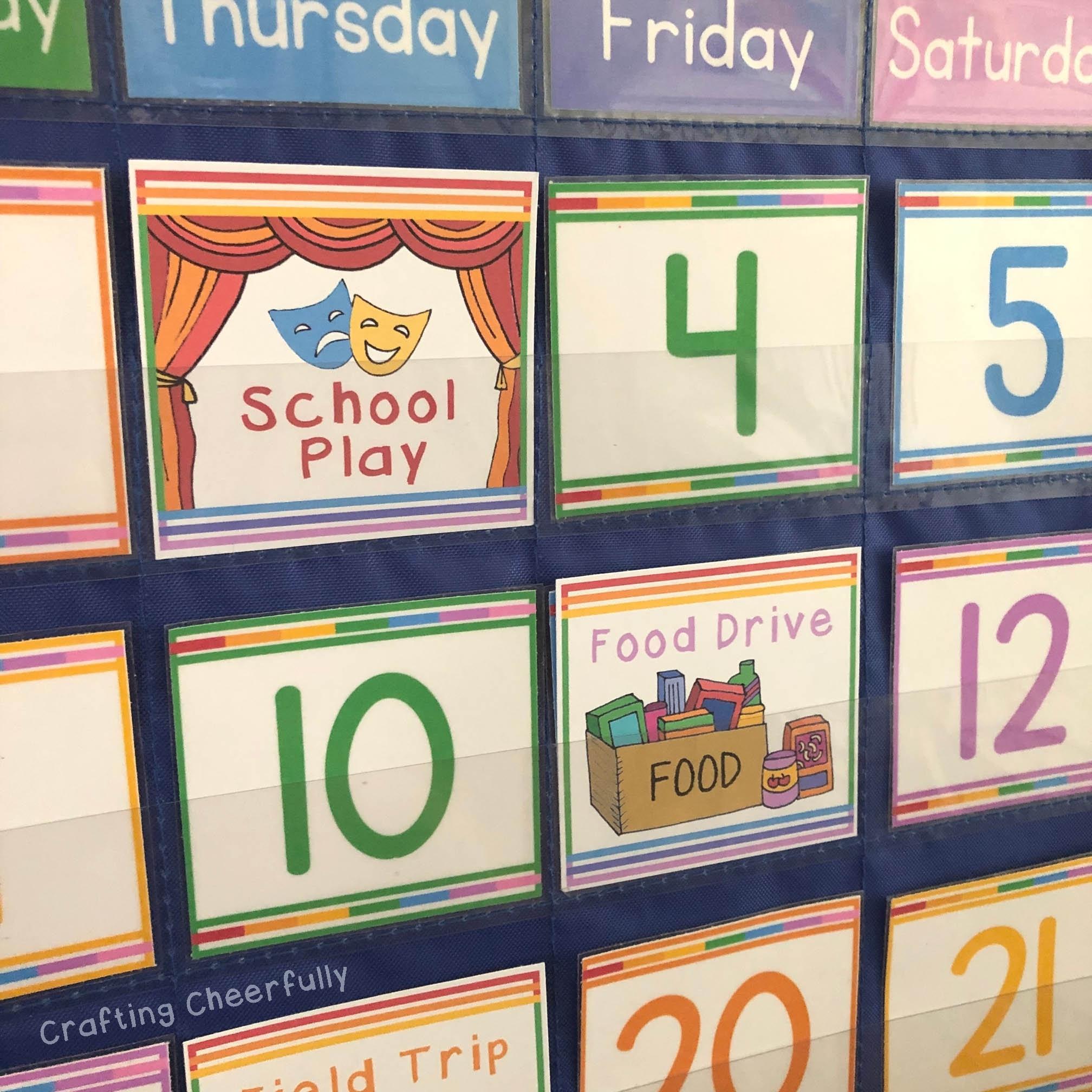 School Days Calendar Cards, Pocket Chart, Instant Digital