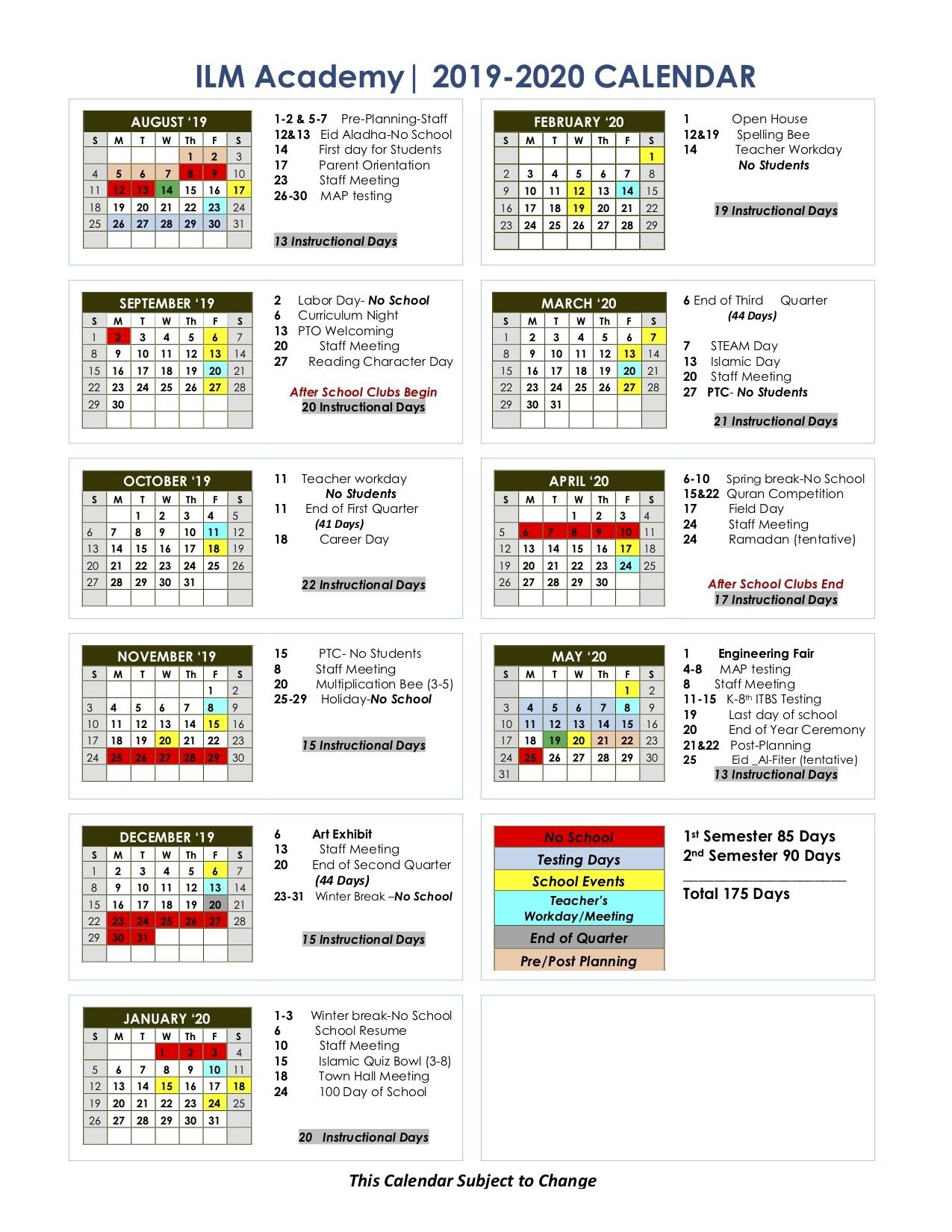 School Year Calendar - Ilm Academy