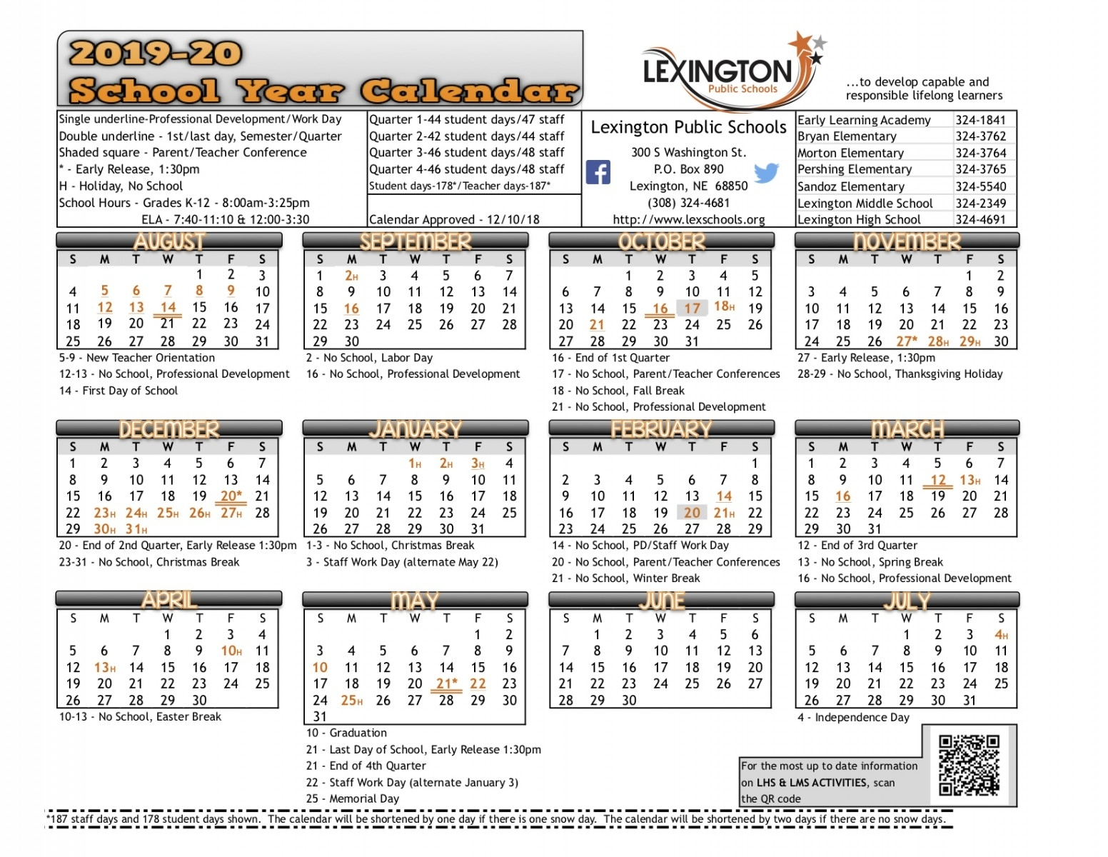 School Year Calendar - Lexington Public Schools