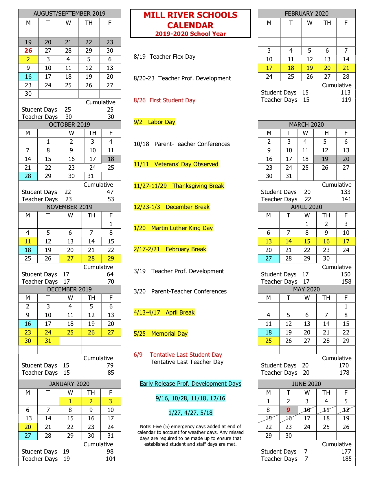 School-Year Calendar – Mill River Schools