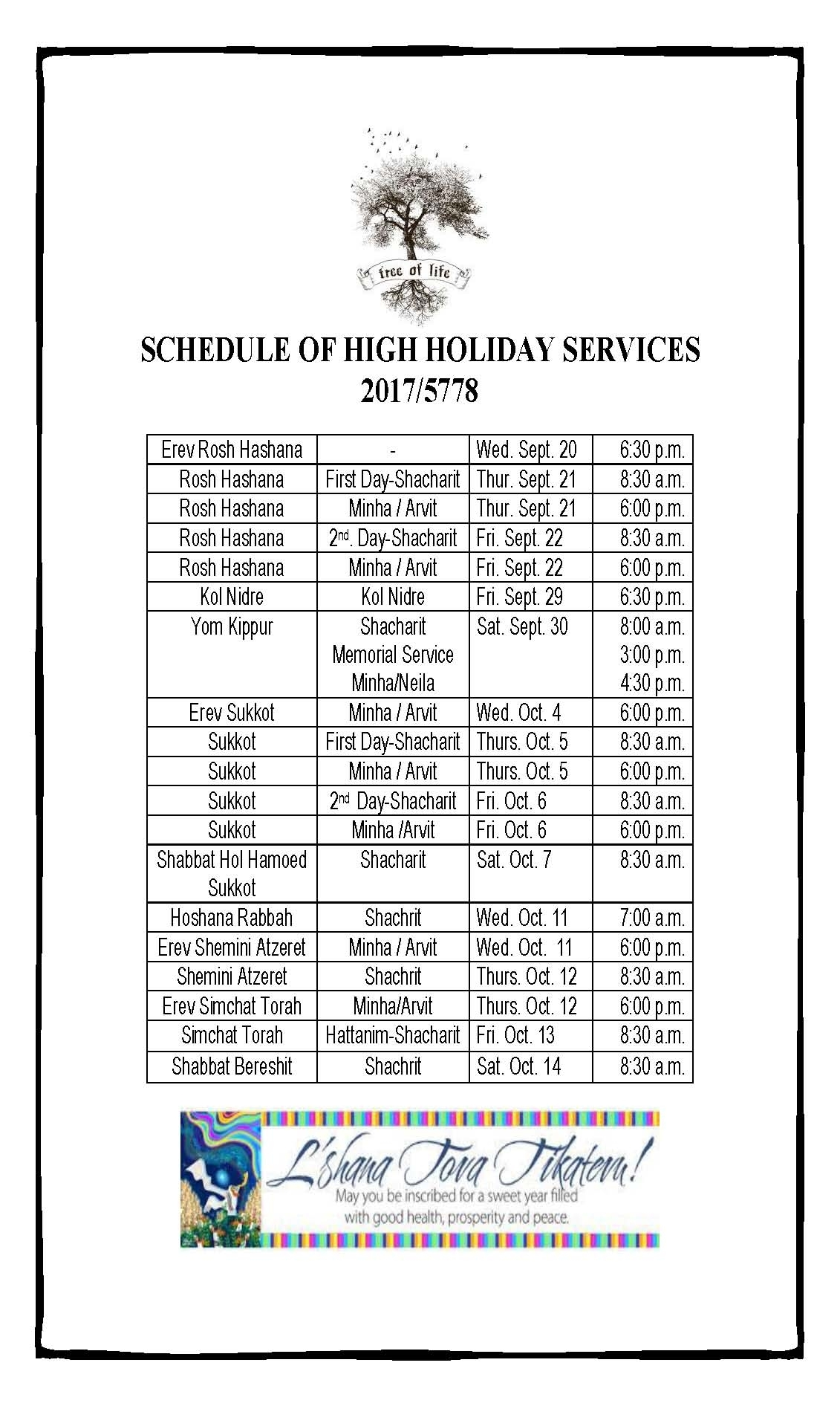 Sephardic Temple – Schedule Of High Holiday Services