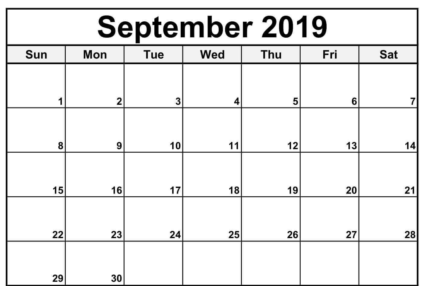 September 2019 Calendar Excel | Blank Calendar Template