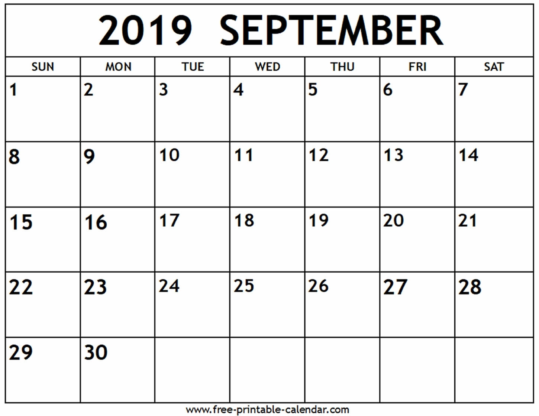 September 2019 Calendar - Free-Printable-Calendar