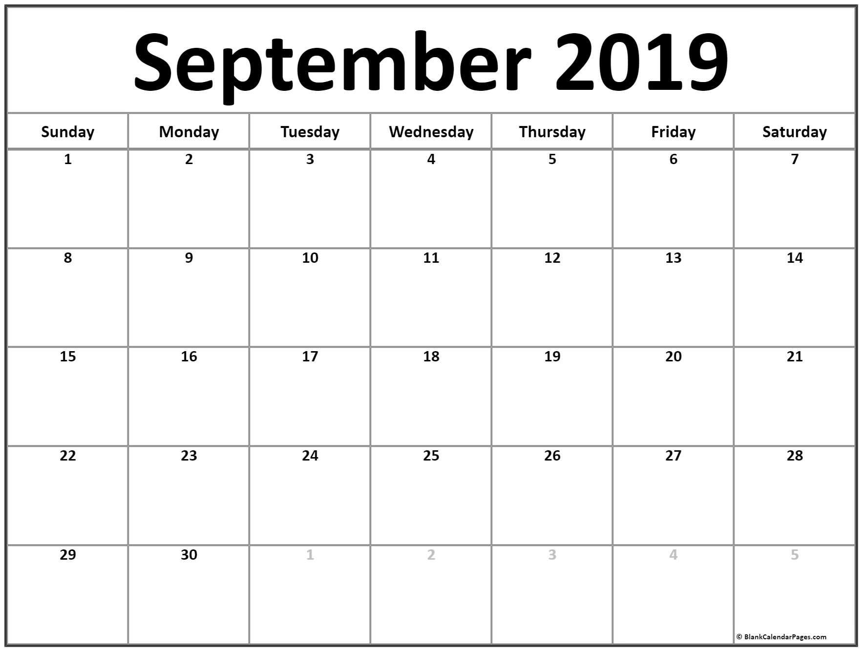 September 2019 Calendar | Free Printable Monthly Calendars