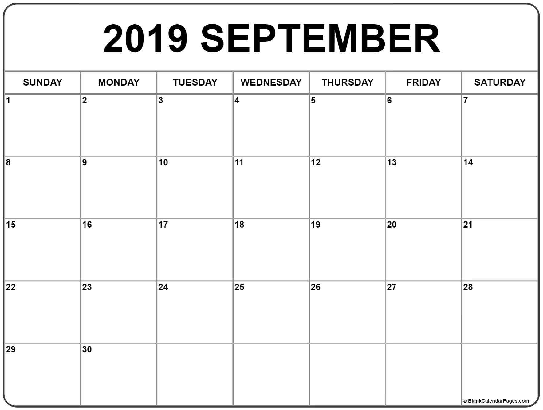 September 2019 Calendar | Free Printable Monthly Calendars