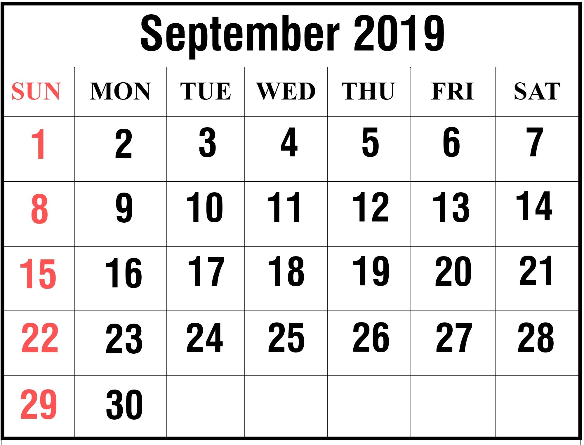 September 2019 Calendar Printable Large Print Sheet - Latest