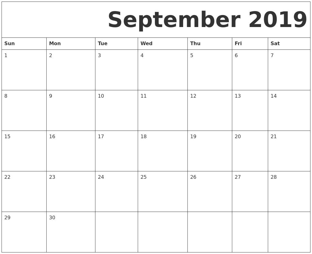 September 2019 Calendar Templates Download Free