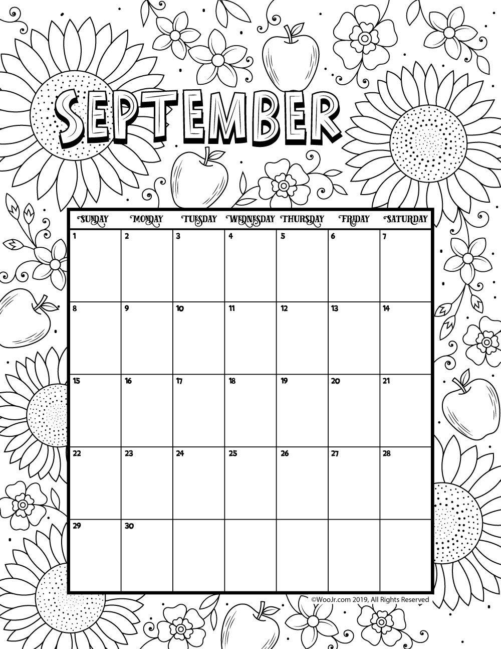 September 2019 Coloring Calendar | Printable Calendar Pages