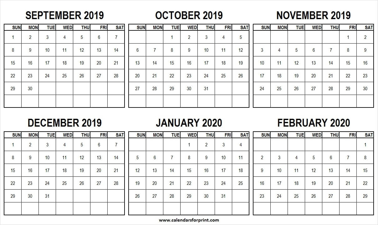 September 2019 February 2020 Half Year Calendar | Editable