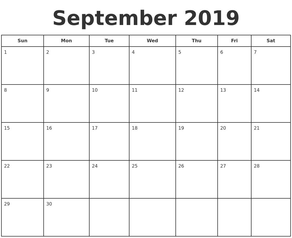 September 2019 Print A Calendar