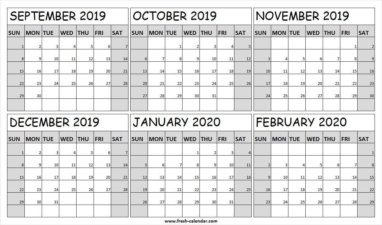 September 2019 To February 2020 Calendar Editable | Calendar