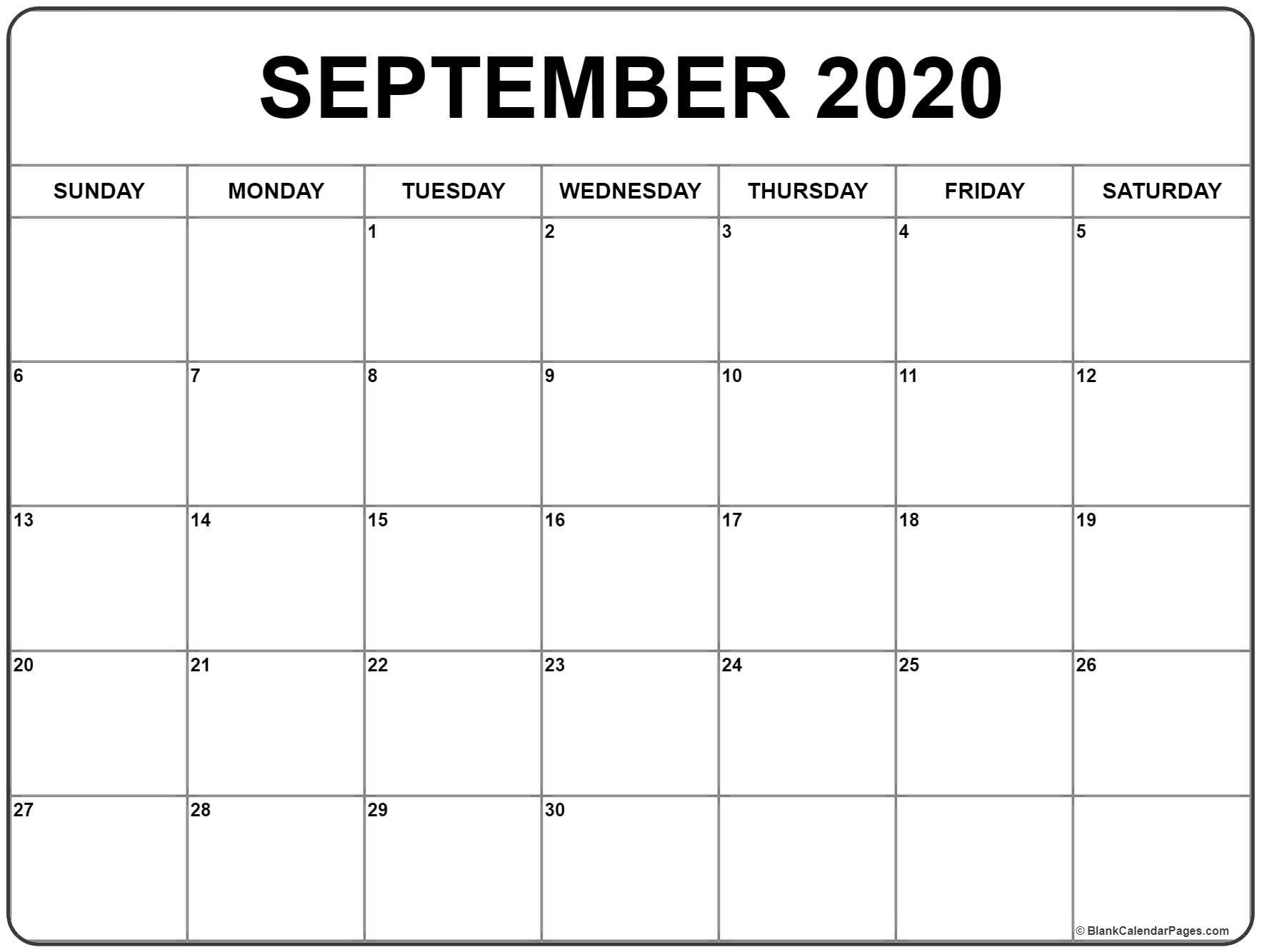 September 2020 Calendar 51 Calendar Templates Of 2020