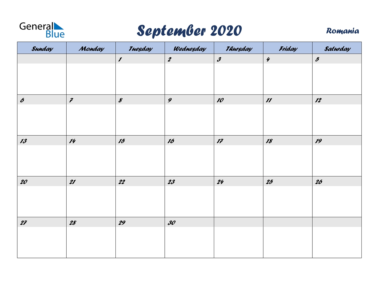 September 2020 Calendar - Romania