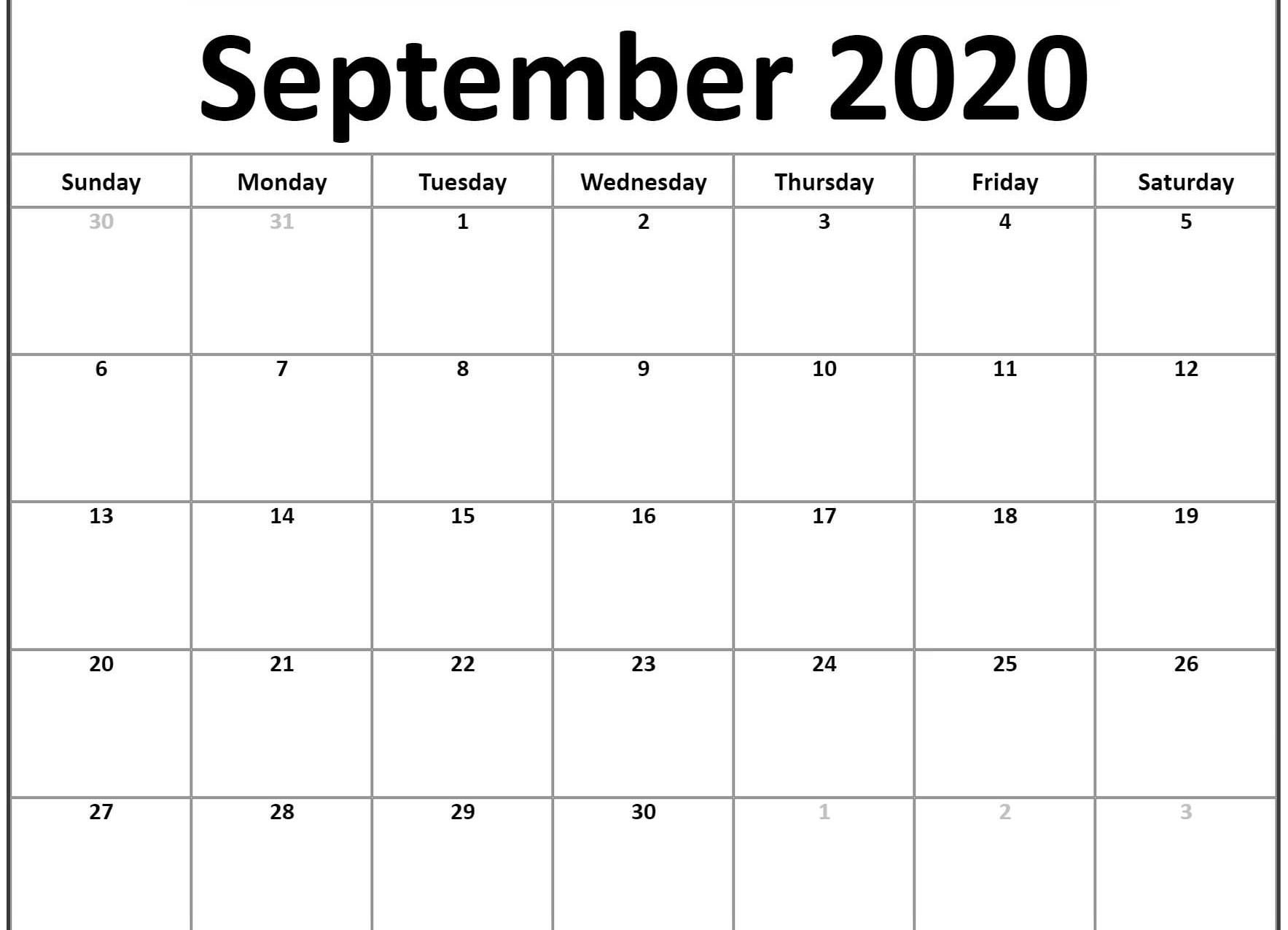 September 2020 Calendar Template | Printable Calendar