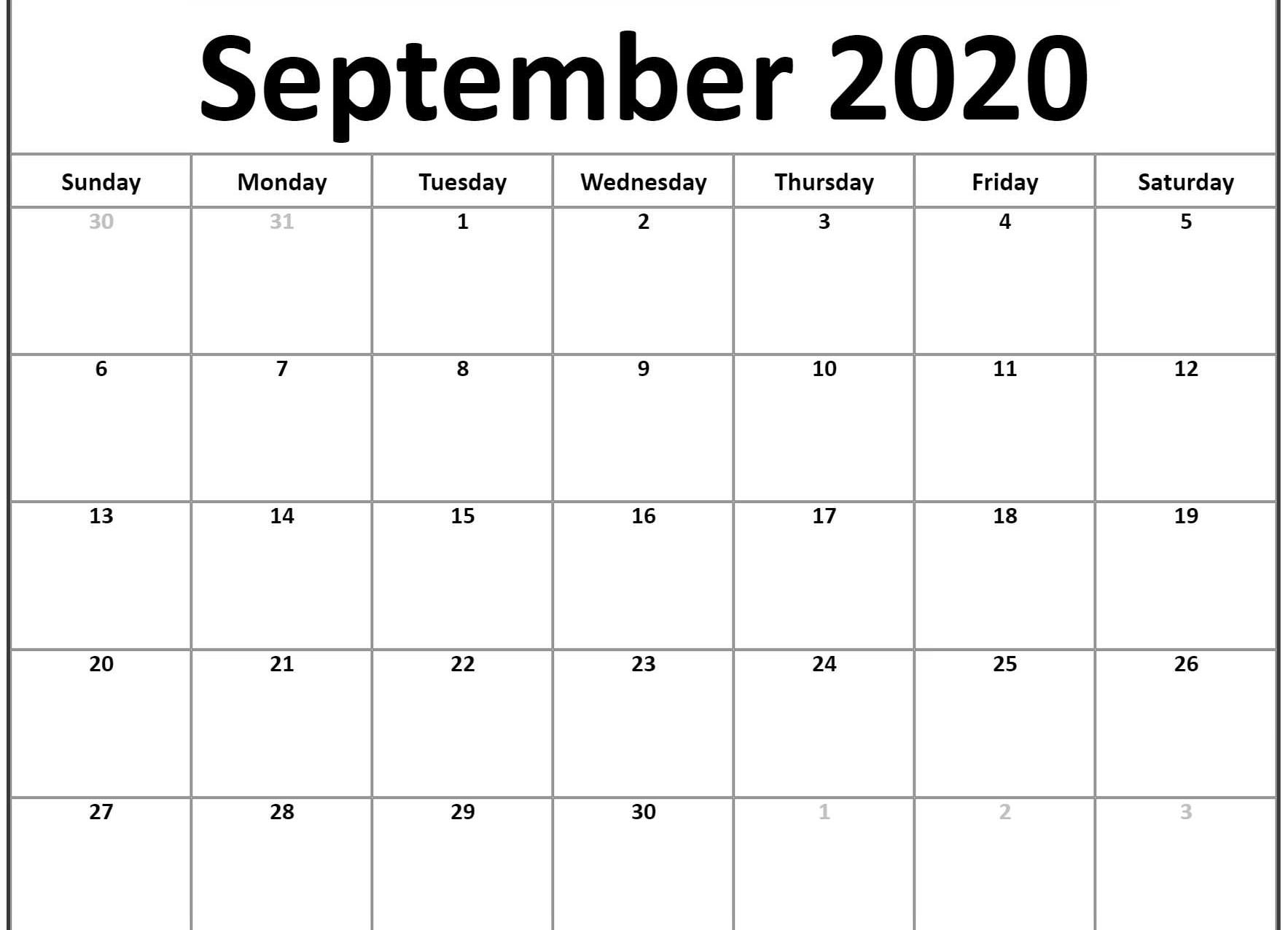 September 2020 Calendar Template Word, Pdf, Excel Format