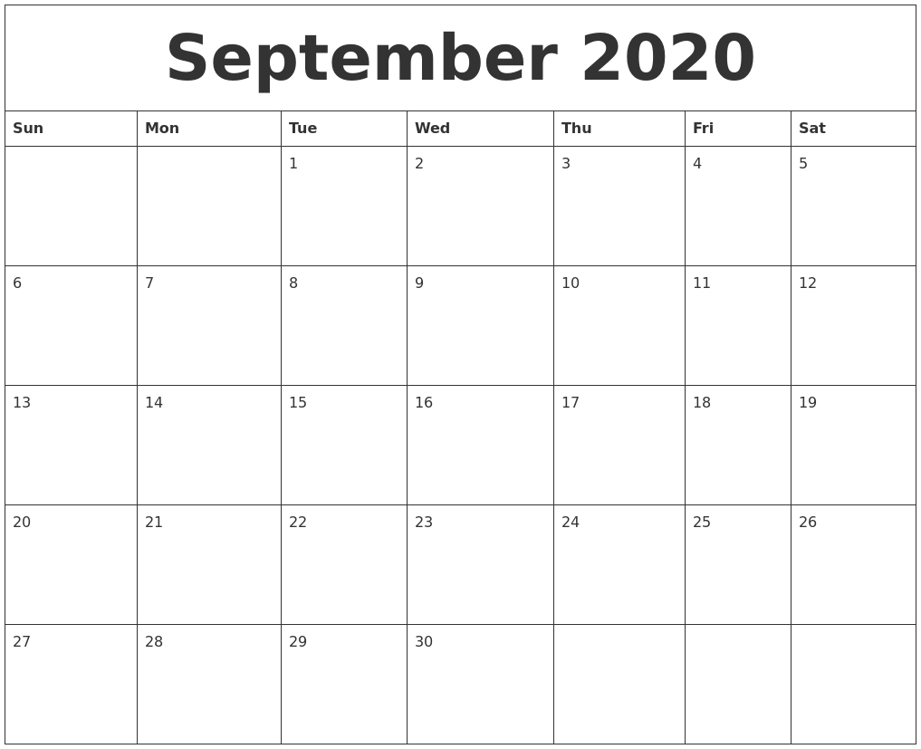 September 2020 Printable Calendar Pages