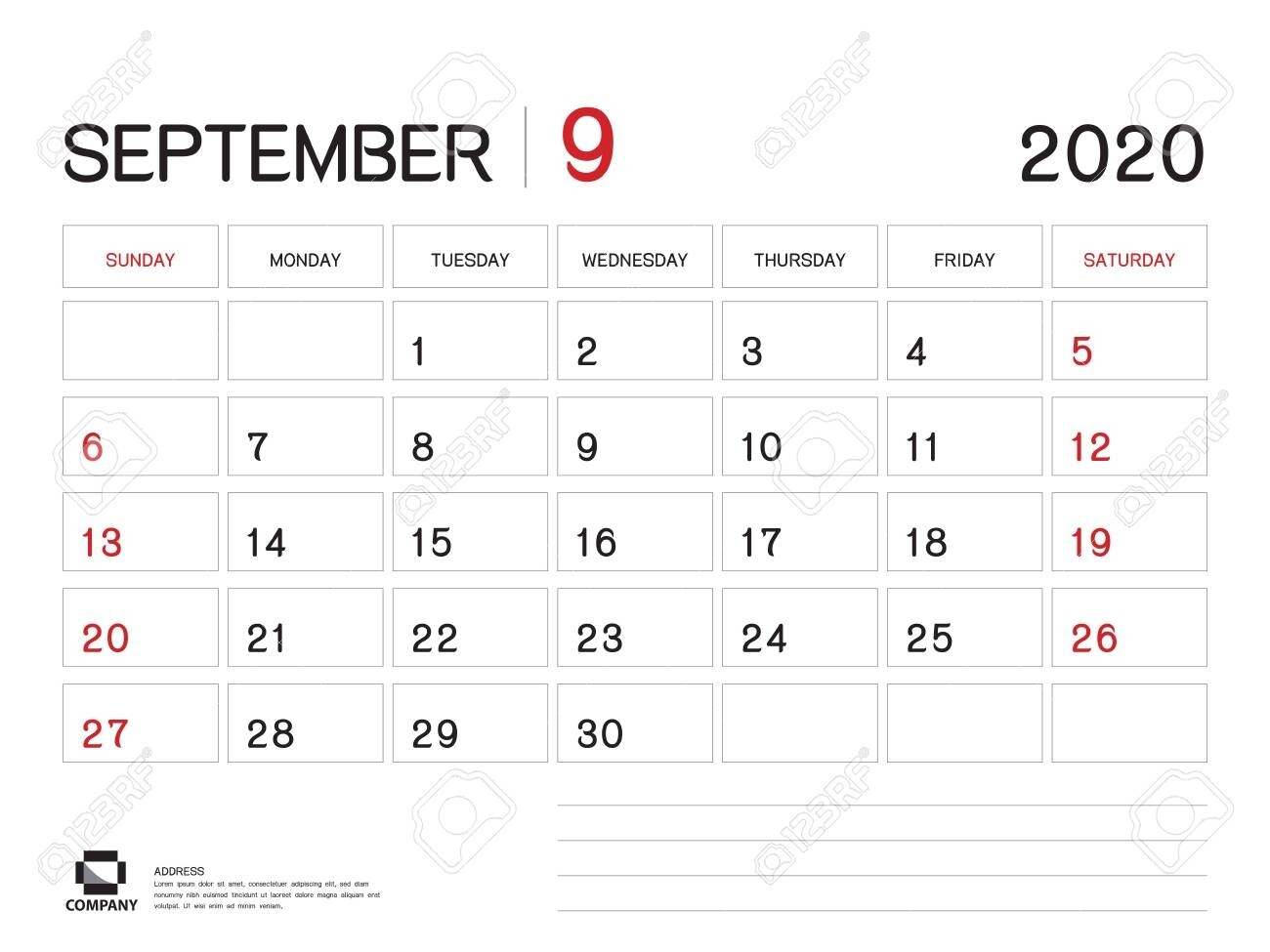 September 2020 Year Template, Calendar 2020, Desk Calendar Design,..