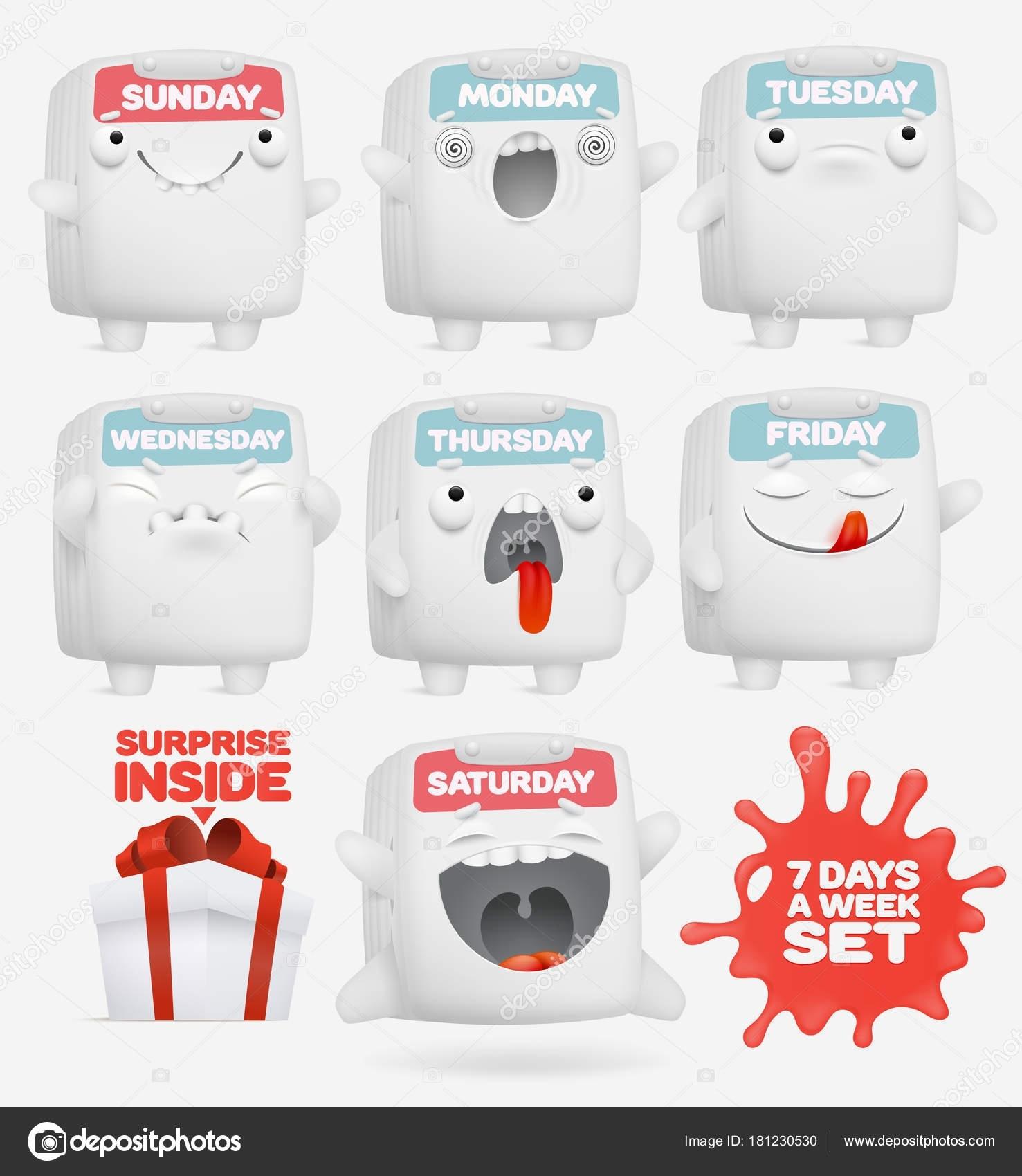 Set Cartoon Emoji Calendar Characters Days Week Concept