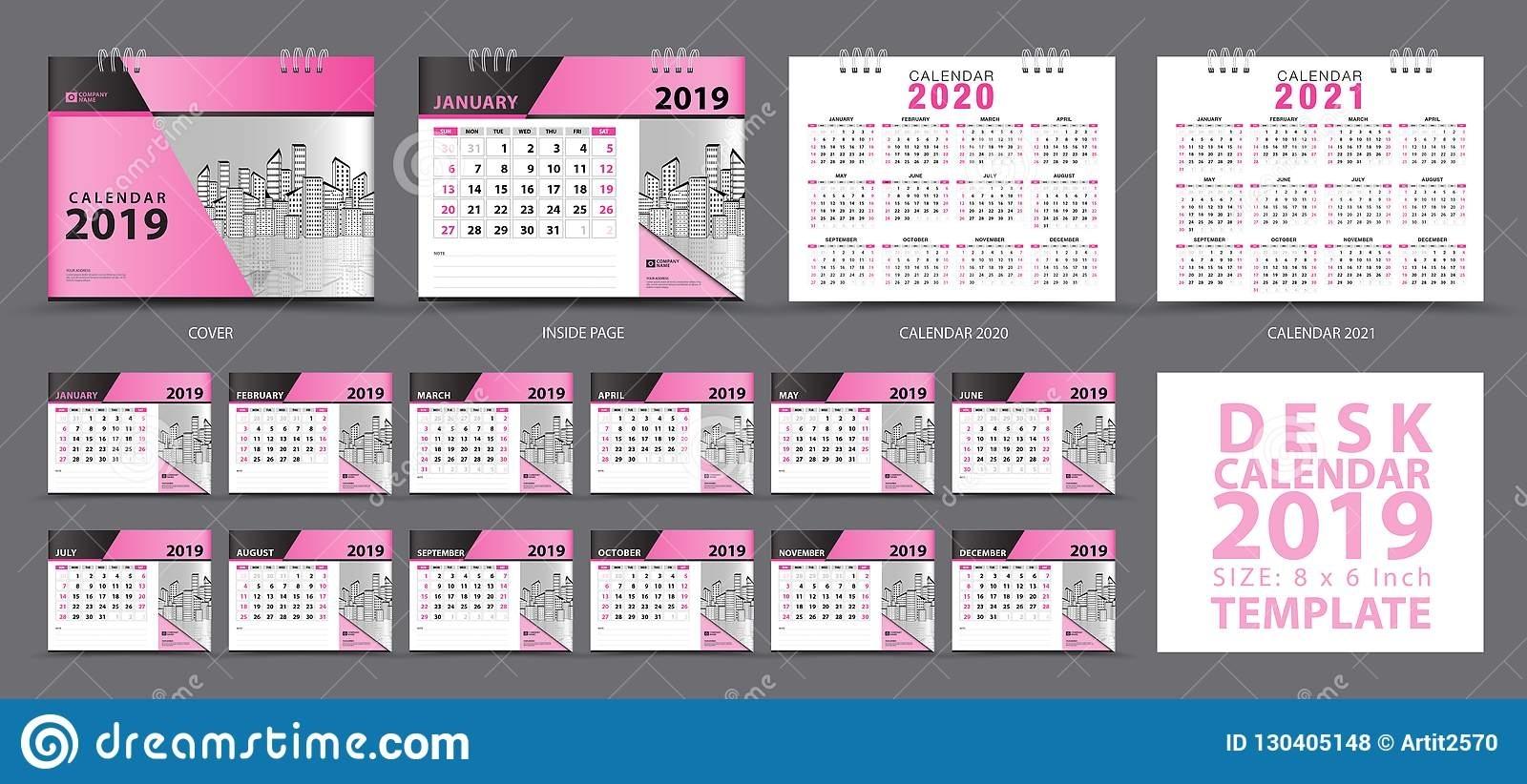 Set Desk Calendar 2019 Template, Set Of 12 Months, Calendar
