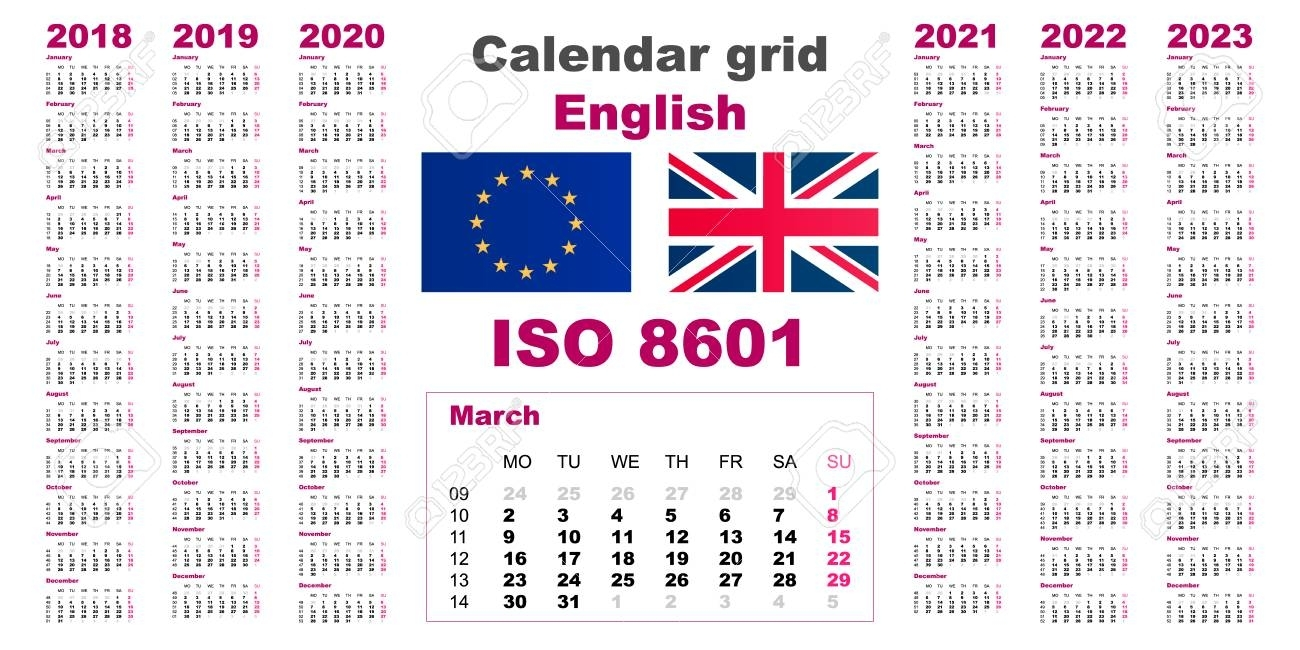 Set Grid Wall Calendar English For 2018, 2019, 2020, 2021, 2022,..