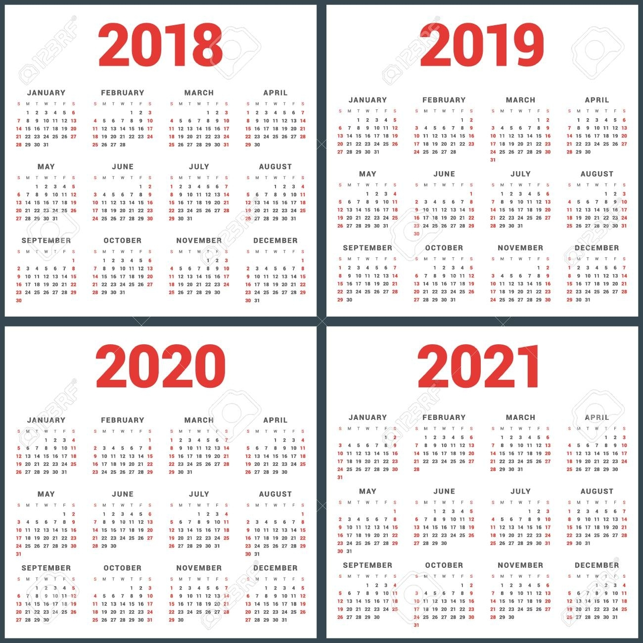 Set Of Calendars For 2018, 2019, 2020, 2021 Years. Week Starts..
