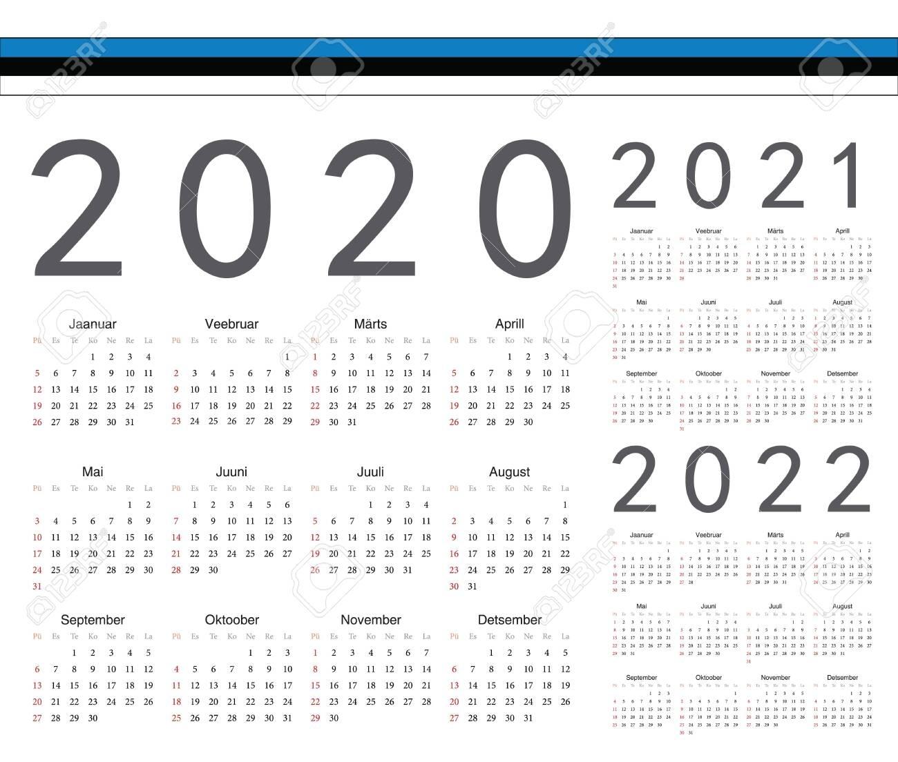Set Of Estonian 2020, 2021, 2022 Year Vector Calendars. Week..